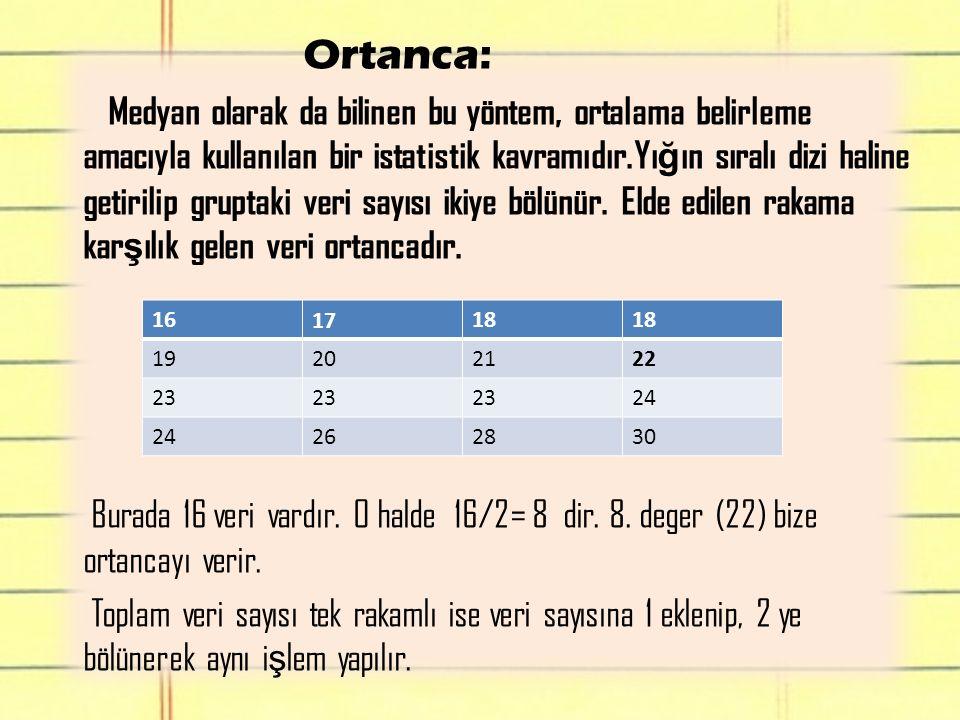 Ortanca: Medyan olarak da bilinen bu yöntem, ortalama belirleme amacıyla kullanılan bir istatistik kavramıdır.Yı ğ ın sıralı dizi haline getirilip gru
