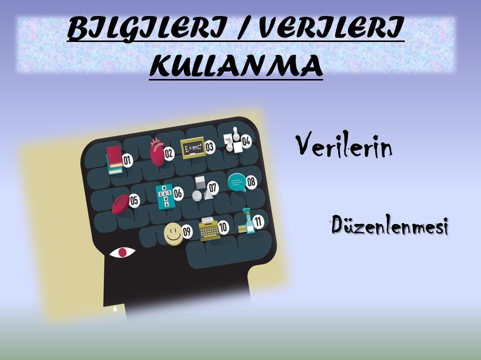 BILGILERI / VERILERI KULLANMA Verilerin Düzenlenmesi