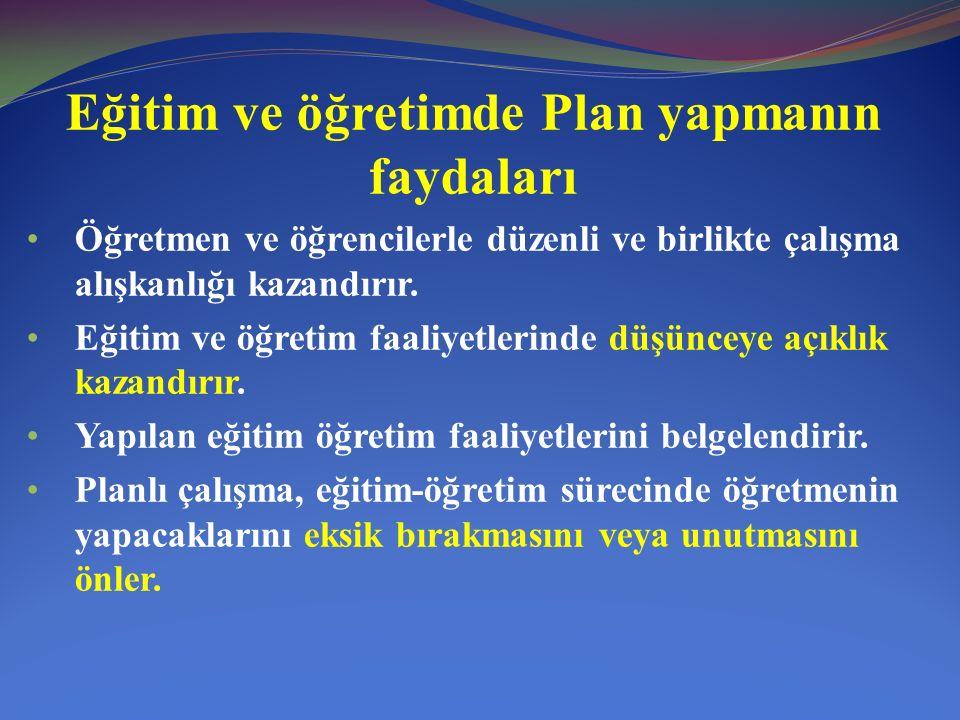Eğitimde plan yapmanın ilkeleri Planlar eğitim-öğretimin amaçlarına uygun olmalıdır.