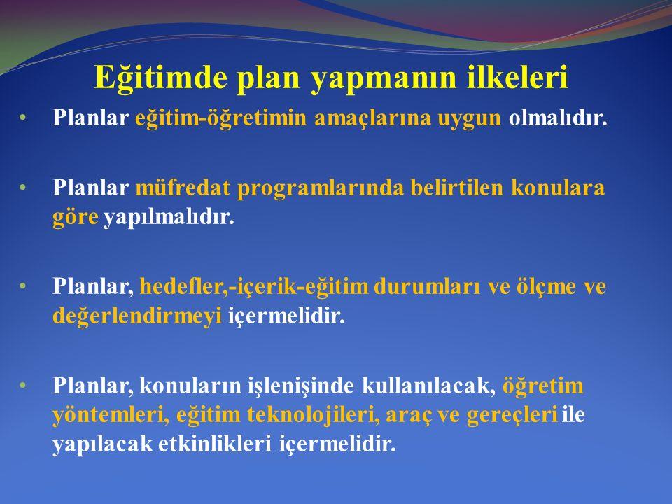 Eğitimde plan yapmanın ilkeleri Planlar, öğrenci merkezli olmalı ve her plan belli bir süreyi kapsamalıdır.