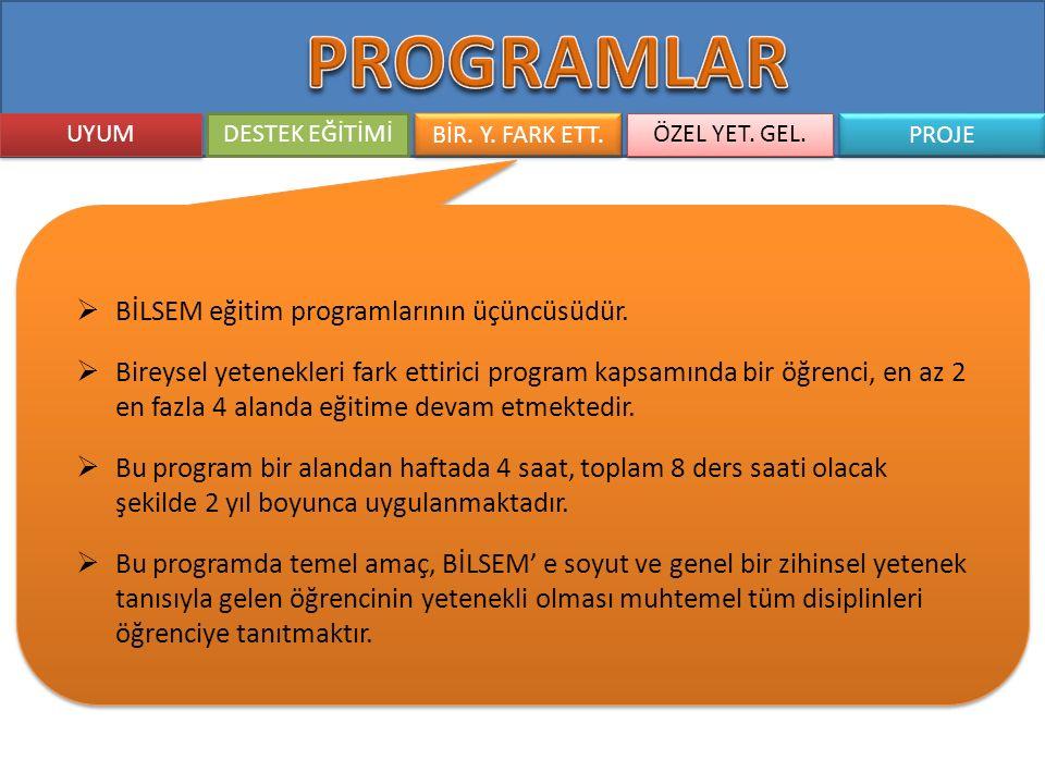 UYUM DESTEK EĞİTİMİ BİR. Y. FARK ETT. ÖZEL YET. GEL. PROJE  BİLSEM eğitim programlarının üçüncüsüdür.  Bireysel yetenekleri fark ettirici program ka