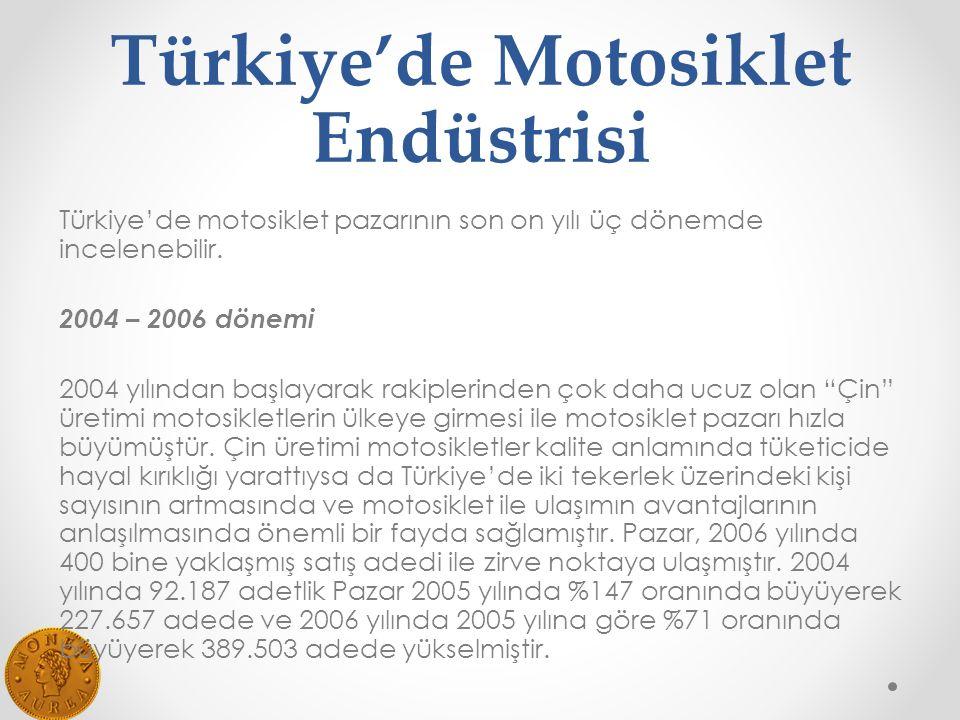 Türkiye'de Motosiklet Endüstrisi Türkiye'de motosiklet pazarının son on yılı üç dönemde incelenebilir.