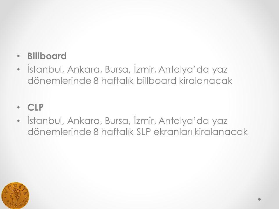 Billboard İstanbul, Ankara, Bursa, İzmir, Antalya'da yaz dönemlerinde 8 haftalık billboard kiralanacak CLP İstanbul, Ankara, Bursa, İzmir, Antalya'da yaz dönemlerinde 8 haftalık SLP ekranları kiralanacak