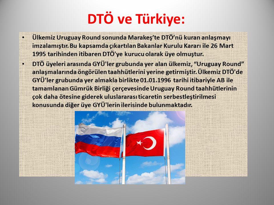 DTÖ ve Türkiye: Ülkemiz Uruguay Round sonunda Marakeş'te DTÖ'nü kuran anlaşmayı imzalamıştır. Bu kapsamda çıkartılan Bakanlar Kurulu Kararı ile 26 Mar