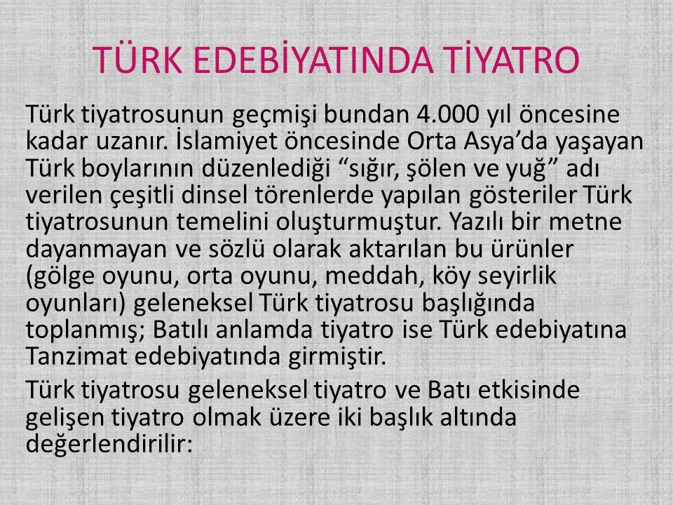 TÜRK EDEBİYATINDA TİYATRO Türk tiyatrosunun geçmişi bundan 4.000 yıl öncesine kadar uzanır. İslamiyet öncesinde Orta Asya'da yaşayan Türk boylarının d