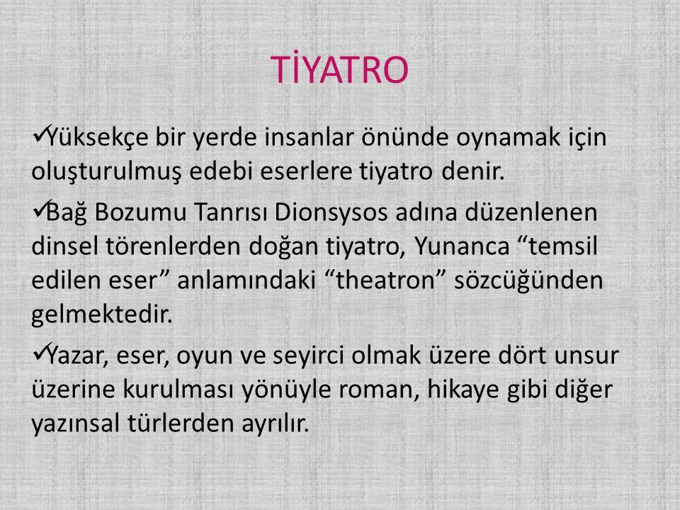 TİYATRO TERİMLERİ Aktör: Erkek tiyatro oyuncusu.Aktris: Kadın tiyatro oyuncusu.