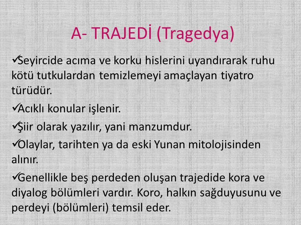 KAYNAKÇA: http://tiyatro.nedir.com/ http://www.turkedebiyati.org/tiyatro-turleri.html YAYIN DENİZİ DEŞİFRE EDEBİYAT (sayfa 21) YGS/LYS EDEBİYAT MEB YAY.
