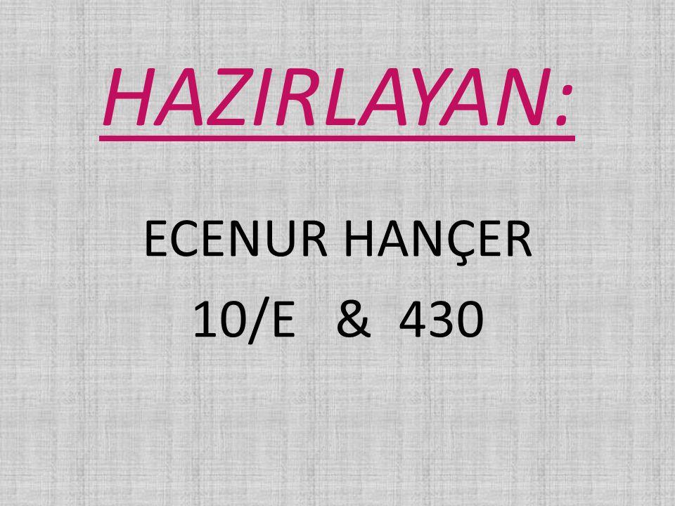 HAZIRLAYAN: ECENUR HANÇER 10/E & 430