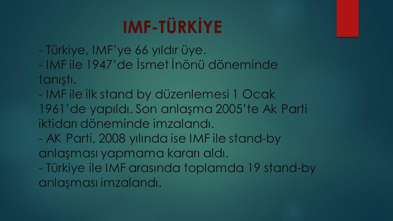 IMF-TÜRKİYE - Türkiye, IMF'ye 66 yıldır üye.- IMF ile 1947'de İsmet İnönü döneminde tanıştı.