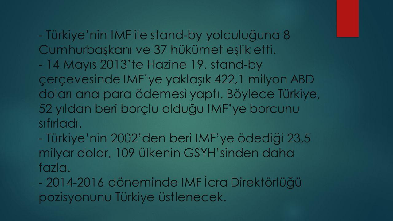 - Türkiye'nin IMF ile stand-by yolculuğuna 8 Cumhurbaşkanı ve 37 hükümet eşlik etti.