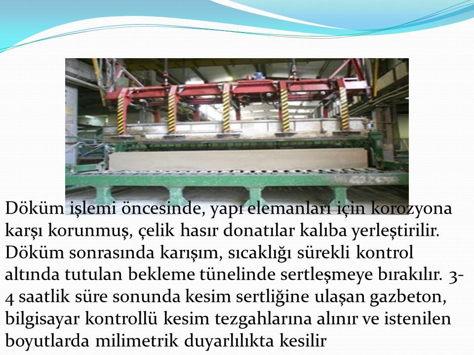 Döküm işlemi öncesinde, yapı elemanları için korozyona karşı korunmuş, çelik hasır donatılar kalıba yerleştirilir. Döküm sonrasında karışım, sıcaklığı