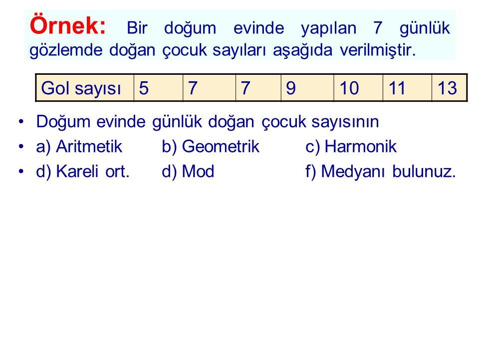 Örnek: Bir doğum evinde yapılan 7 günlük gözlemde doğan çocuk sayıları aşağıda verilmiştir. Doğum evinde günlük doğan çocuk sayısının a) Aritmetikb) G