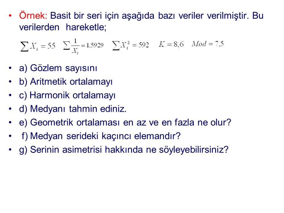 Örnek: Basit bir seri için aşağıda bazı veriler verilmiştir. Bu verilerden hareketle; a) Gözlem sayısını b) Aritmetik ortalamayı c) Harmonik ortalamay