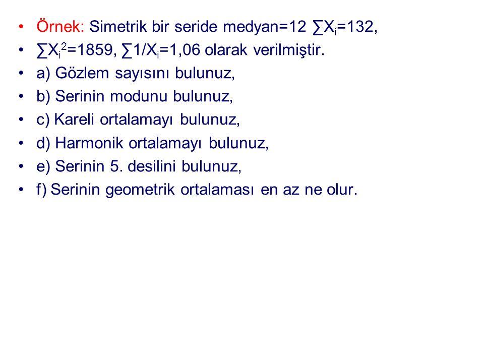 Örnek: Simetrik bir seride medyan=12 ∑X i =132, ∑X i 2 =1859, ∑1/X i =1,06 olarak verilmiştir. a) Gözlem sayısını bulunuz, b) Serinin modunu bulunuz,