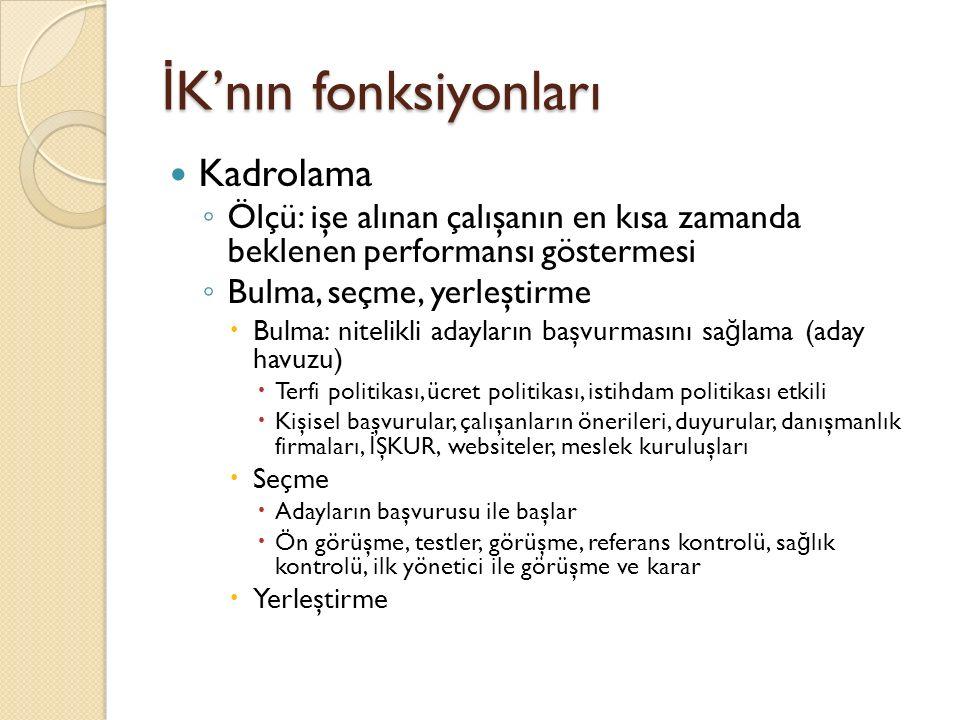 İ K'nın fonksiyonları Kadrolama ◦ Ölçü: işe alınan çalışanın en kısa zamanda beklenen performansı göstermesi ◦ Bulma, seçme, yerleştirme  Bulma: nite