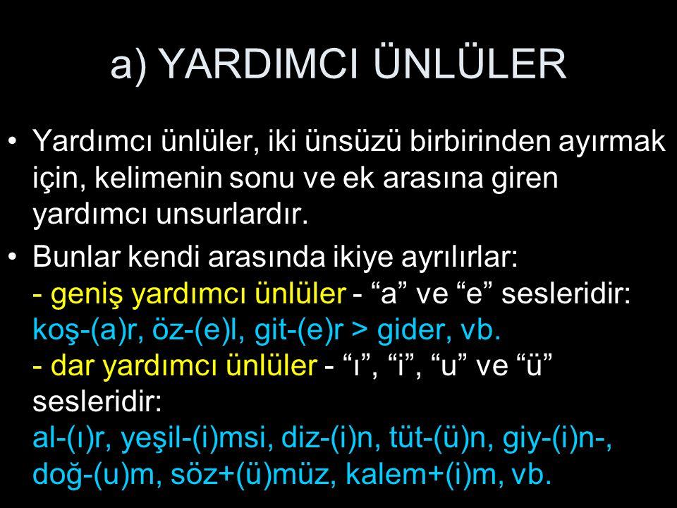 b) KAYNAŞTIRMA ÜNSÜZLERİ Kaynaştırma ünsüzleri, Türkçede iki ünlünün yan yana (hiatus, ünlü çatışması) gelememe- sinden dolayı, onların arasına giren yardımcı unsurlardır.