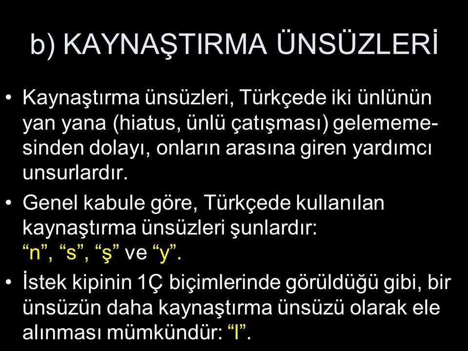 b) KAYNAŞTIRMA ÜNSÜZLERİ Kaynaştırma ünsüzleri, Türkçede iki ünlünün yan yana (hiatus, ünlü çatışması) gelememe- sinden dolayı, onların arasına giren