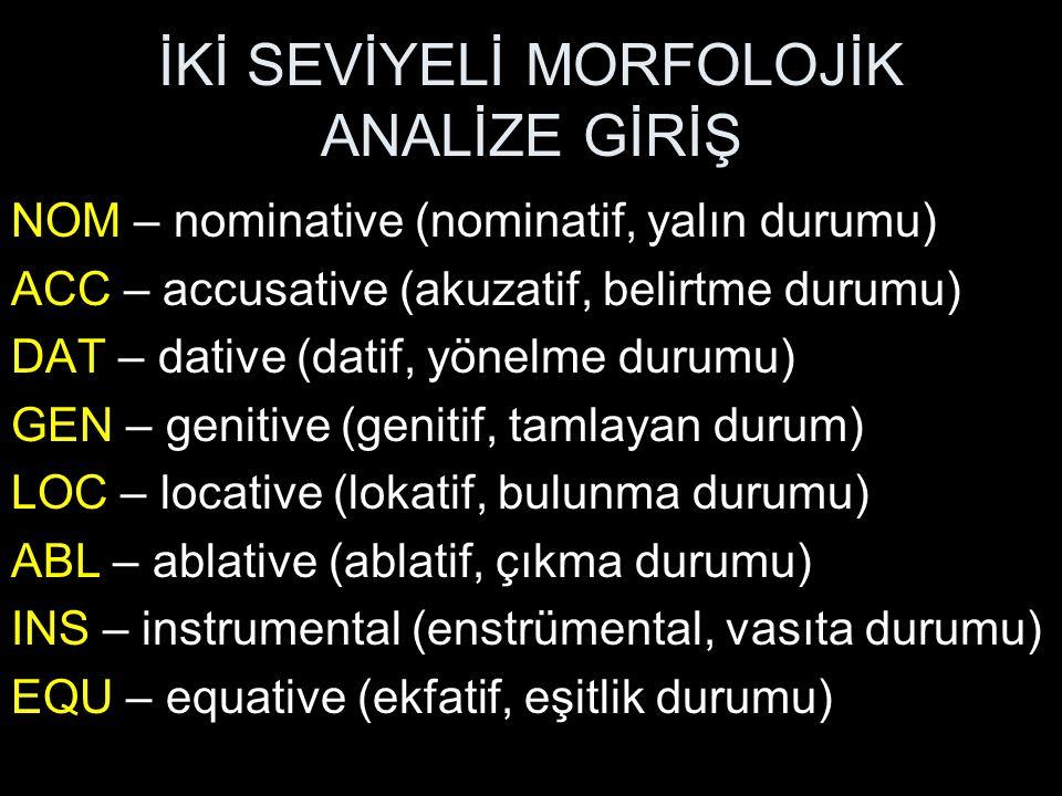 İKİ SEVİYELİ MORFOLOJİK ANALİZE GİRİŞ NOM – nominative (nominatif, yalın durumu) ACC – accusative (akuzatif, belirtme durumu) DAT – dative (datif, yön