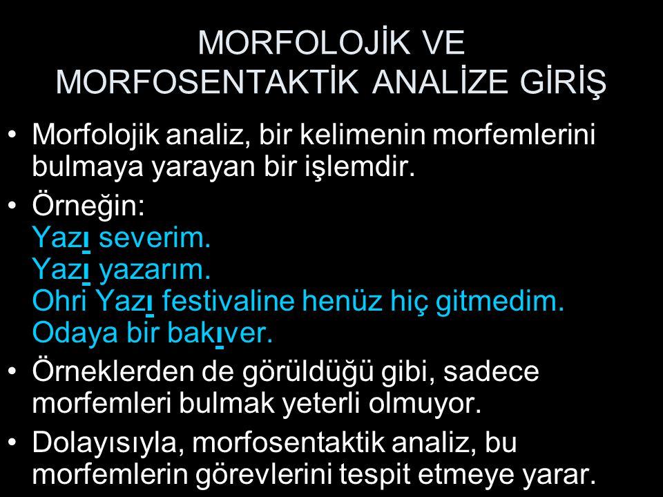 MORFOLOJİK VE MORFOSENTAKTİK ANALİZE GİRİŞ Morfolojik analiz, bir kelimenin morfemlerini bulmaya yarayan bir işlemdir. Örneğin: Yazı severim. Yazı yaz