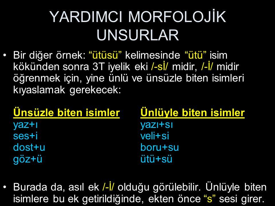 YARDIMCI MORFOLOJİK UNSURLAR Bu formulü her yerde kullanarak, kıyaslama yoluyla yardımcı morfolojik unsurları bulmak mümkündür.
