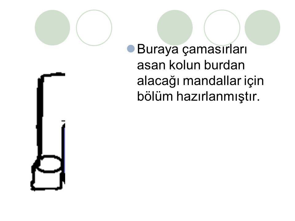 Çamaşırlığın iki tarafında bulunan sıcak hava üfleyiciler sayesinde soğuk havalarda da çamaşırlar erken kurur.