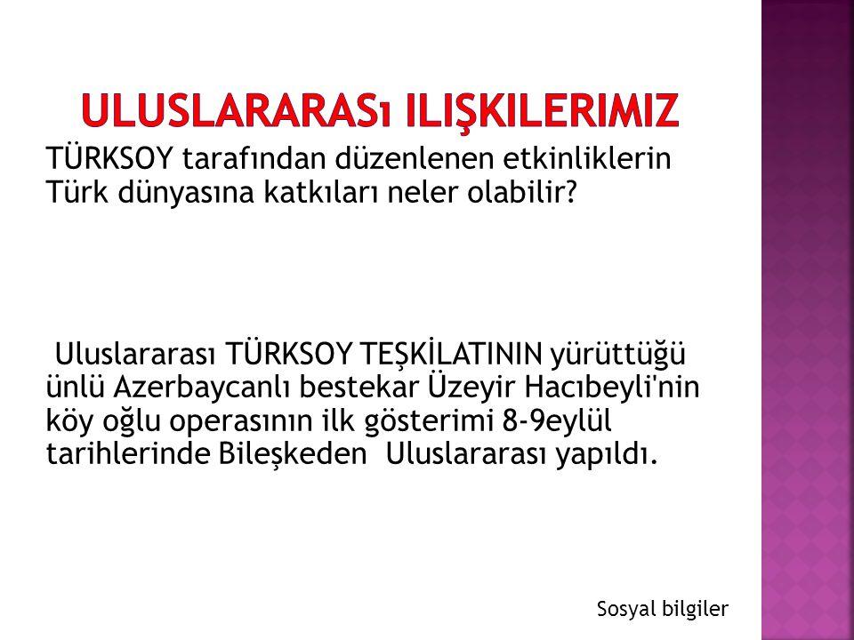 TÜRKSOY tarafından düzenlenen etkinliklerin Türk dünyasına katkıları neler olabilir? Uluslararası TÜRKSOY TEŞKİLATININ yürüttüğü ünlü Azerbaycanlı bes