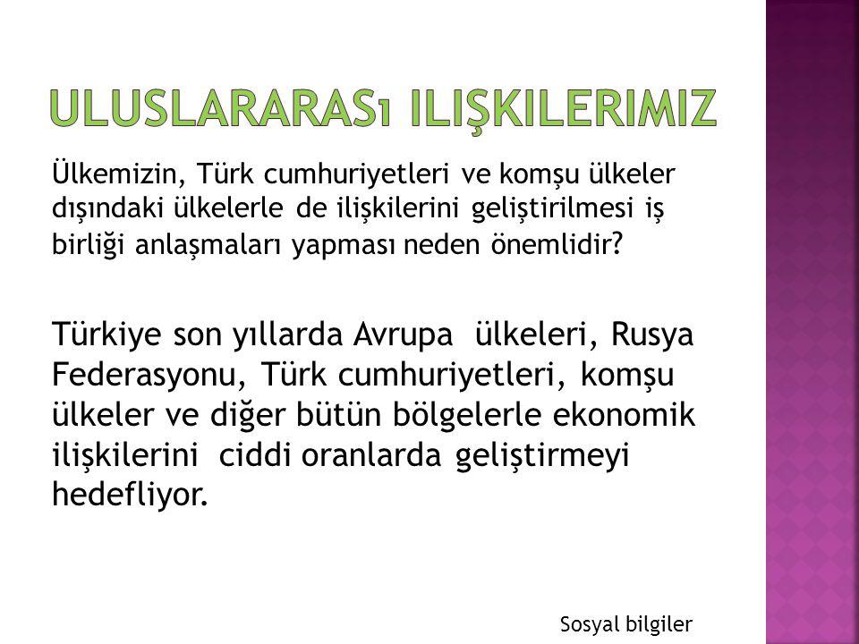 Ülkemizin, Türk cumhuriyetleri ve komşu ülkeler dışındaki ülkelerle de ilişkilerini geliştirilmesi iş birliği anlaşmaları yapması neden önemlidir ? Tü