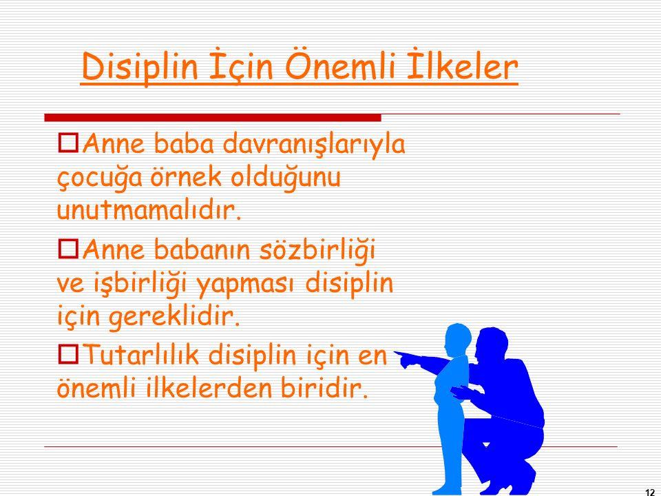 12 Disiplin İçin Önemli İlkeler  Anne baba davranışlarıyla çocuğa örnek olduğunu unutmamalıdır.  Anne babanın sözbirliği ve işbirliği yapması disipl