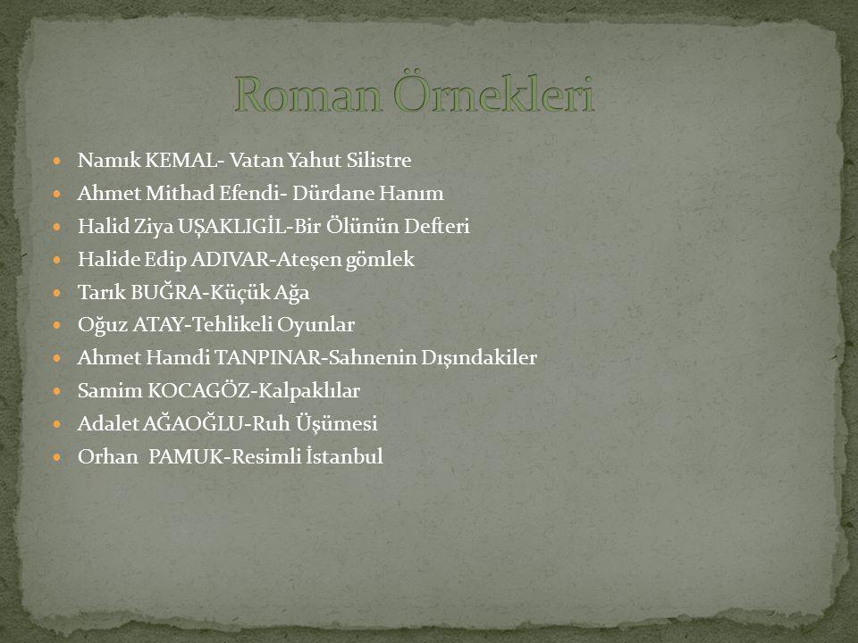 Namık KEMAL- Vatan Yahut Silistre Ahmet Mithad Efendi- Dürdane Hanım Halid Ziya UŞAKLIGİL-Bir Ölünün Defteri Halide Edip ADIVAR-Ateşen gömlek Tarık BU
