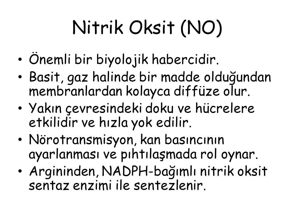 Nitrik Oksit (NO) Önemli bir biyolojik habercidir. Basit, gaz halinde bir madde olduğundan membranlardan kolayca diffüze olur. Yakın çevresindeki doku