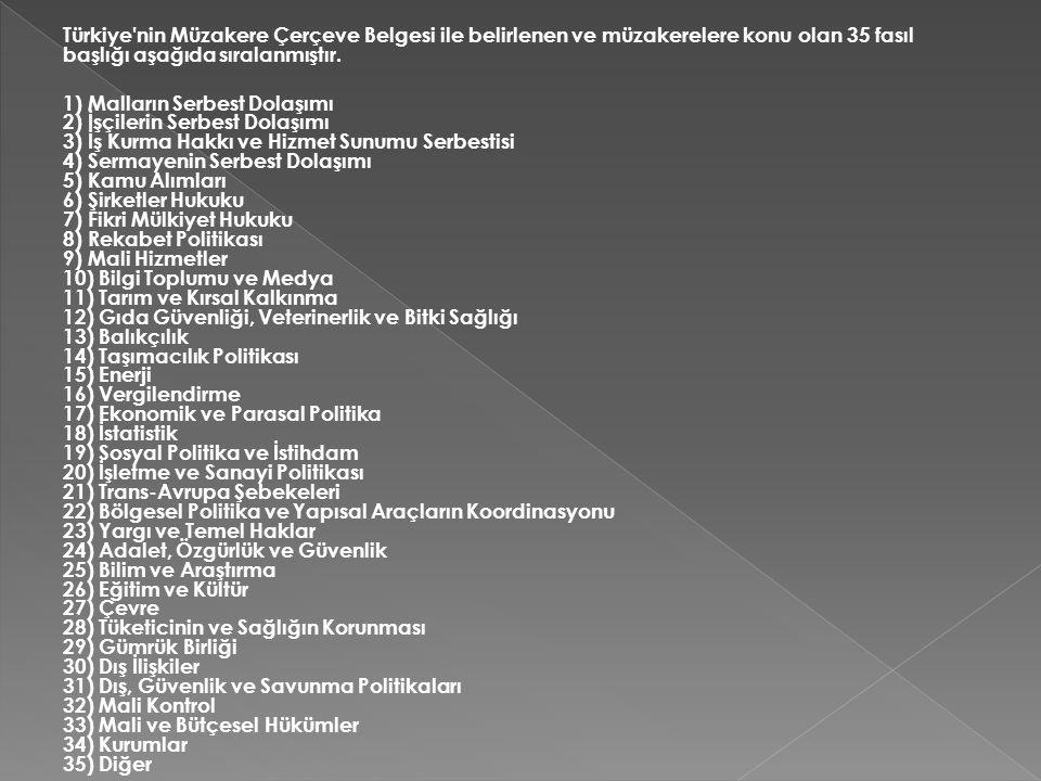 Türkiye'nin Müzakere Çerçeve Belgesi ile belirlenen ve müzakerelere konu olan 35 fasıl başlığı aşağıda sıralanmıştır. 1) Malların Serbest Dolaşımı 2)