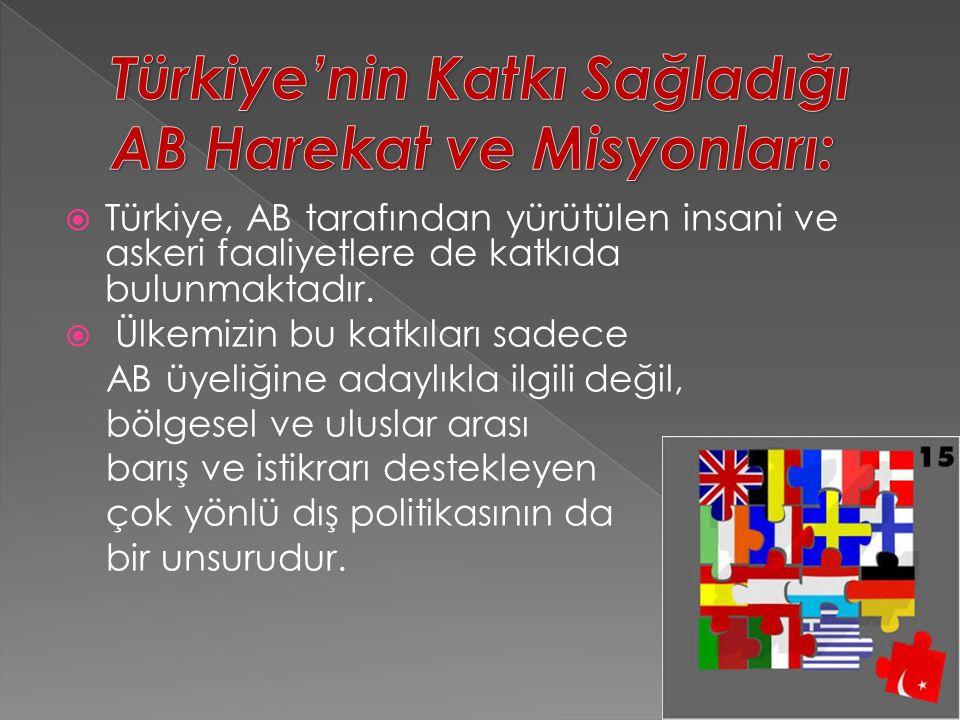  Türkiye, AB tarafından yürütülen insani ve askeri faaliyetlere de katkıda bulunmaktadır.  Ülkemizin bu katkıları sadece AB üyeliğine adaylıkla ilgi