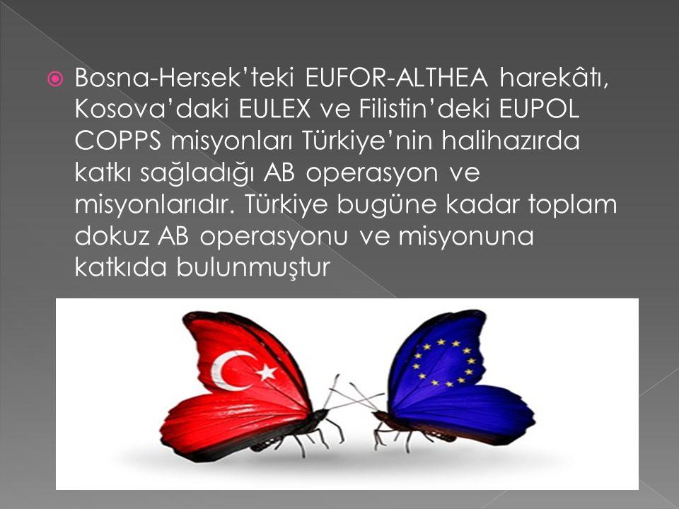  Bosna-Hersek'teki EUFOR-ALTHEA harekâtı, Kosova'daki EULEX ve Filistin'deki EUPOL COPPS misyonları Türkiye'nin halihazırda katkı sağladığı AB operasyon ve misyonlarıdır.