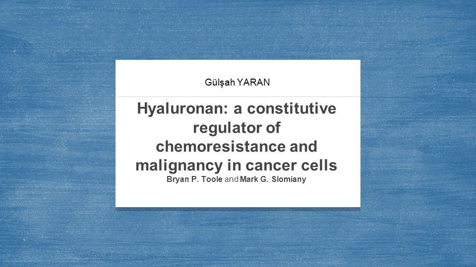 Hyaluronik asit Hyaluronik asit 2,000-2,500 glokoronik asit ve N-asetilglukozamin disakkaritlerinden oluşan büyük lineer bir yapıdır.[ß1,4-GlcUA-ß1,3-GlcNAc-] m Yetişkin vertebrat hücrelerinde vitröz, sinoviyal sıvılarda ve dermiste bulunmaktadır.