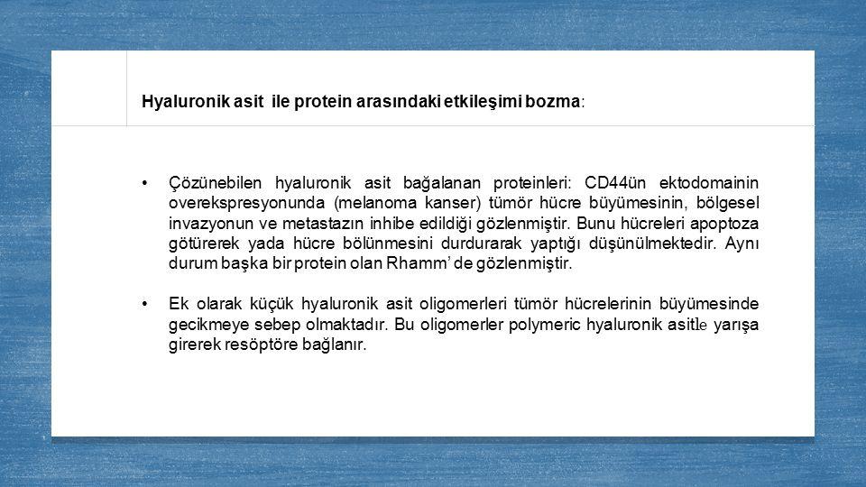 Hyaluronik asit ile protein arasındaki etkileşimi bozma: Çözünebilen hyaluronik asit bağalanan proteinleri: CD44ün ektodomainin overekspresyonunda (me