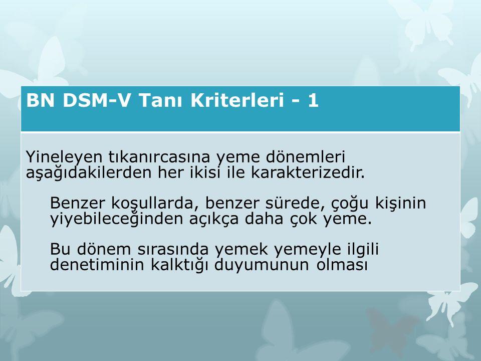 BN DSM-V Tanı Kriterleri - 1 Yineleyen tıkanırcasına yeme dönemleri aşağıdakilerden her ikisi ile karakterizedir. Benzer koşullarda, benzer sürede, ço