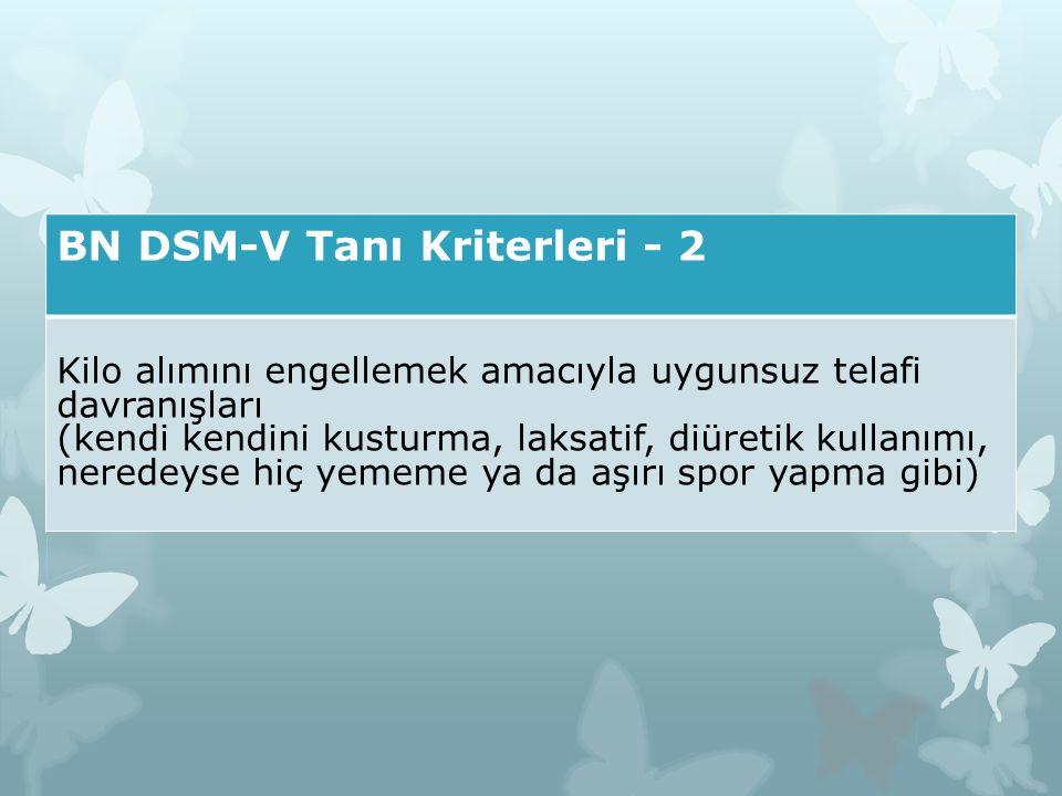 BN DSM-V Tanı Kriterleri - 2 Kilo alımını engellemek amacıyla uygunsuz telafi davranışları (kendi kendini kusturma, laksatif, diüretik kullanımı, nere