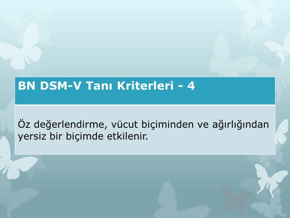 BN DSM-V Tanı Kriterleri - 4 Öz değerlendirme, vücut biçiminden ve ağırlığından yersiz bir biçimde etkilenir.