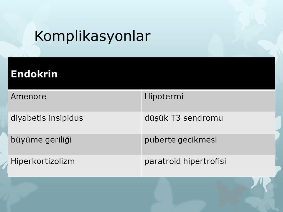 Komplikasyonlar Endokrin AmenoreHipotermi diyabetis insipidusdüşük T3 sendromu büyüme geriliğipuberte gecikmesi Hiperkortizolizmparatroid hipertrofisi