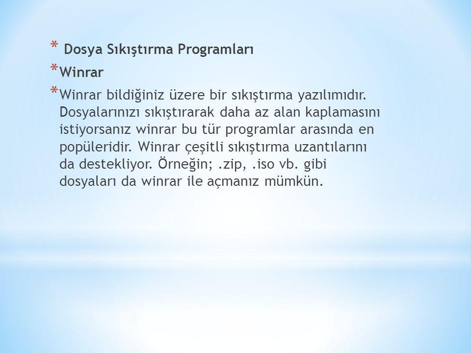 * Dosya Sıkıştırma Programları * Winrar * Winrar bildiğiniz üzere bir sıkıştırma yazılımıdır.