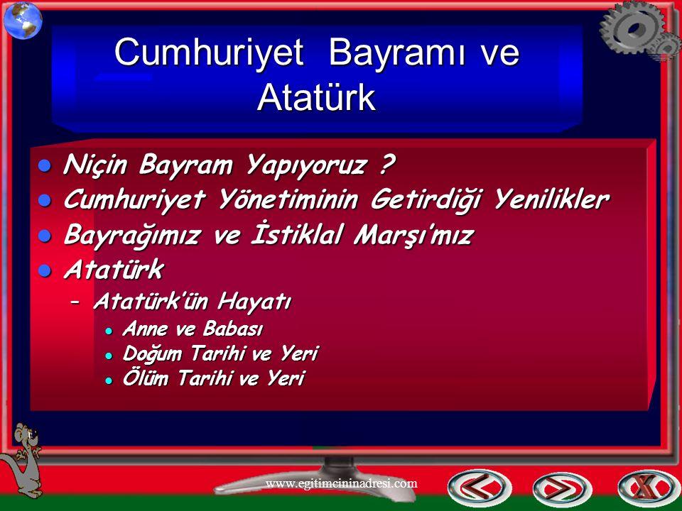 Cumhuriyet Bayramı ve Atatürk Niçin Niçin Bayram Yapıyoruz ? Cumhuriyet Cumhuriyet Yönetiminin Getirdiği Yenilikler Bayrağımız Bayrağımız ve İstiklal