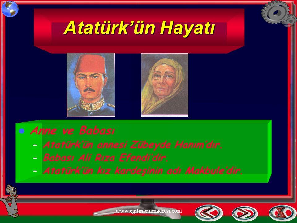 Atatürk'ün Hayatı Anne ve Babası – Atatürk'ün annesi Zübeyde Hanım'dır. – Babası Ali Rıza Efendi'dir. – Atatürk'ün kız kardeşinin adı Makbule'dir. www