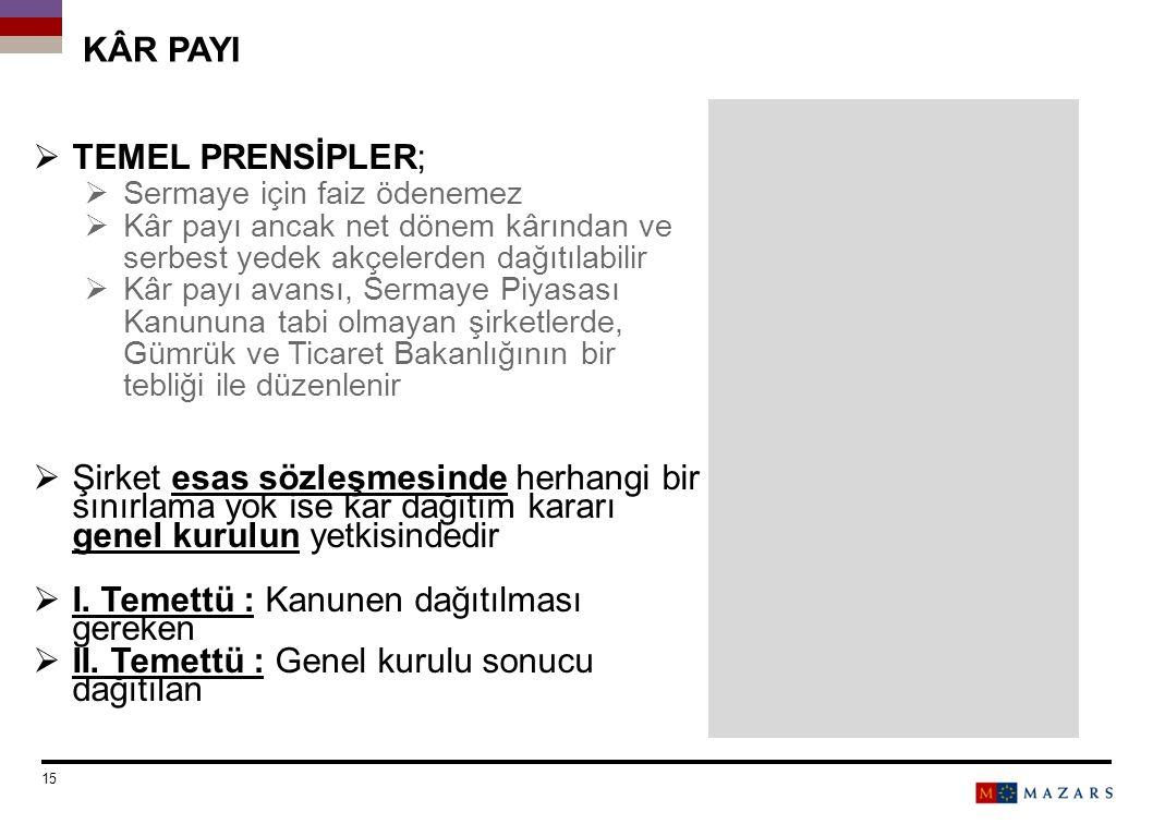 KÂR PAYI  TEMEL PRENSİPLER;  Sermaye için faiz ödenemez  Kâr payı ancak net dönem kârından ve serbest yedek akçelerden dağıtılabilir  Kâr payı ava