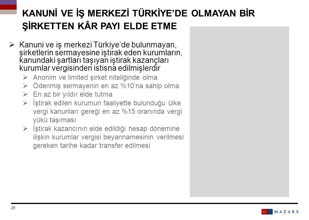 KANUNİ VE İŞ MERKEZİ TÜRKİYE'DE OLMAYAN BİR ŞİRKETTEN KÂR PAYI ELDE ETME  Kanuni ve iş merkezi Türkiye'de bulunmayan, şirketlerin sermayesine iştirak