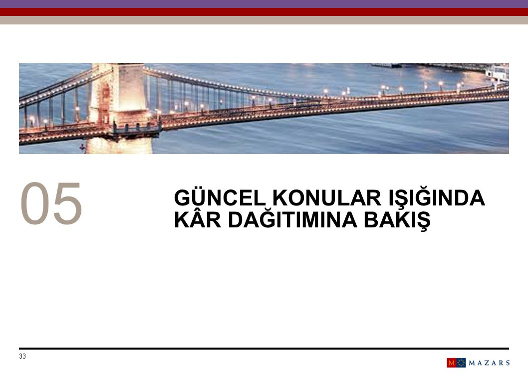 GÜNCEL KONULAR IŞIĞINDA KÂR DAĞITIMINA BAKIŞ Date 33 Titre de la présentation Number can be customized as follows: Select the text and change the numb