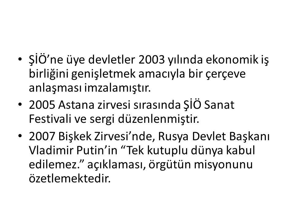 ŞİÖ'ne üye devletler 2003 yılında ekonomik iş birliğini genişletmek amacıyla bir çerçeve anlaşması imzalamıştır. 2005 Astana zirvesi sırasında ŞİÖ San