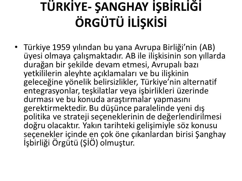 TÜRKİYE- ŞANGHAY İŞBİRLİĞİ ÖRGÜTÜ İLİŞKİSİ Türkiye 1959 yılından bu yana Avrupa Birliği'nin (AB) üyesi olmaya çalışmaktadır. AB ile ilişkisinin son yı