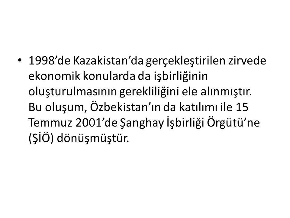 1998'de Kazakistan'da gerçekleştirilen zirvede ekonomik konularda da işbirliğinin oluşturulmasının gerekliliğini ele alınmıştır. Bu oluşum, Özbekistan