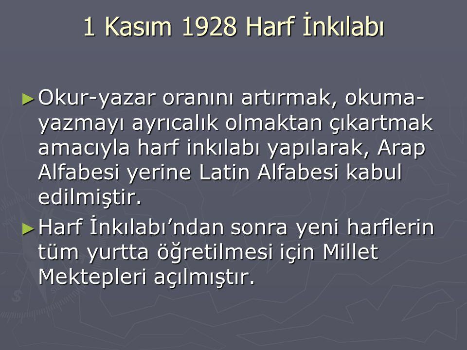 1 Kasım 1928 Harf İnkılabı ► Okur-yazar oranını artırmak, okuma- yazmayı ayrıcalık olmaktan çıkartmak amacıyla harf inkılabı yapılarak, Arap Alfabesi