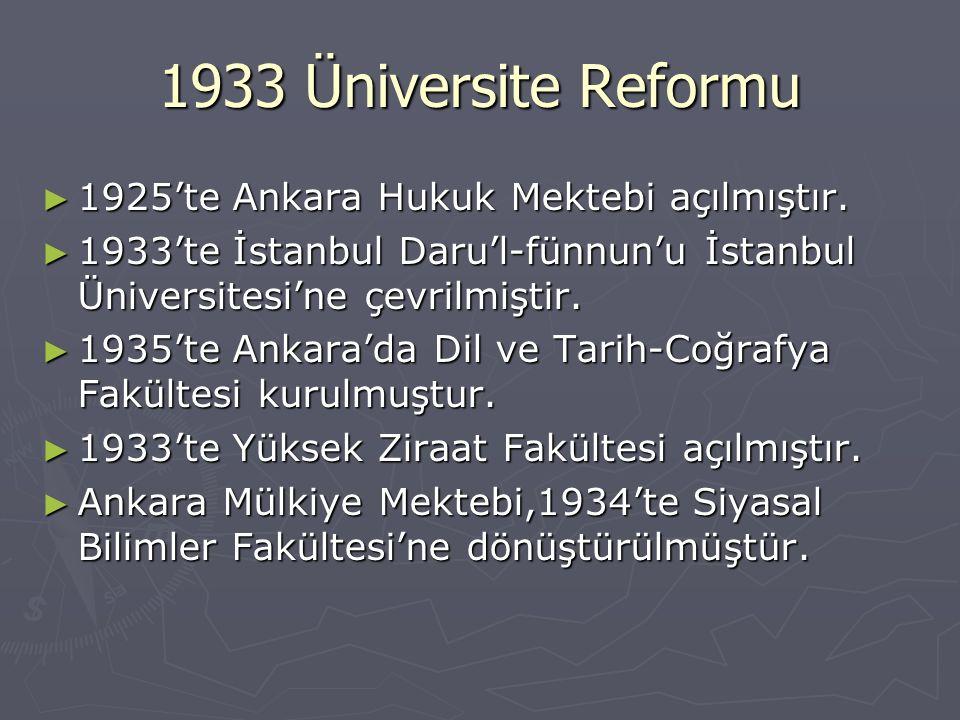 1933 Üniversite Reformu ► 1925'te Ankara Hukuk Mektebi açılmıştır. ► 1933'te İstanbul Daru'l-fünnun'u İstanbul Üniversitesi'ne çevrilmiştir. ► 1935'te